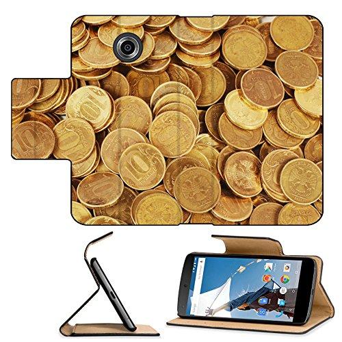 Luxlady Premium Motorola Google Nexus 6 Flip Pu Leather Wallet Case Gold money stack close up Business concept IMAGE 35646390