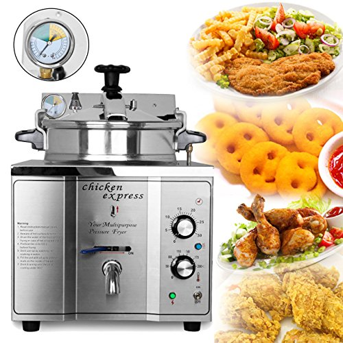 Ridgeyard Update Stainless Steel Cooking Countertop Fried Chicken Duck Fish Meat Vegetable Chips Electric Pressure Fryer Control Temperature 50-200℃ (Electric Pressure Fryer compare prices)