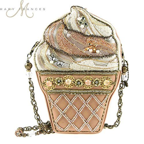 "Mary Frances ""The Scoop"" Beaded Ice Cream Cone Summer Shoulder Bag, Pink/Cream"