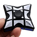 Magic Cube Finger Toy, AMA(TM) Smooth and Speed 1x3x3 Rubiks Cube Puzzle Spinner Focus EDC Toys for Adults and Kids (Black) (Color: Black, Tamaño: 5.5x5.5x2cm)