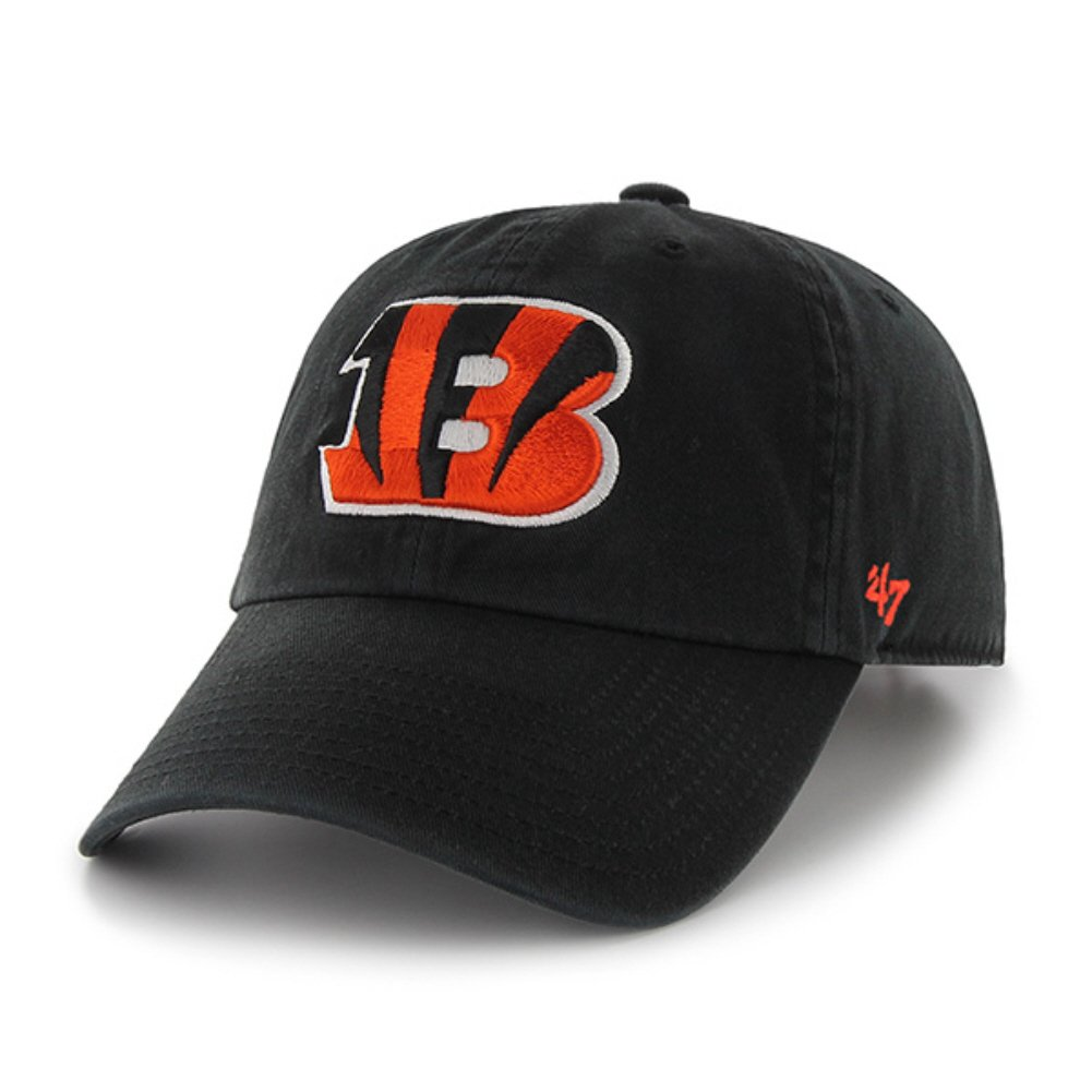 Licensed NFL Cincinnati Bengals 47 Clean Up Style 100% Cotton Twill Adjustable Strap Adult Baseball Hat/Cap (Gift Box Included) nasa insignia embroidered cotton twill cap red