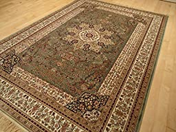 Luxury Green Rug Silk Traditional Rug Persian Isfahan Area Rugs Dining Room Green 5x7 Rugs Persian Green Rugs 5x8 Living Room Carpet (Medium 5\'x8\')