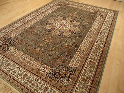 Luxury green rug silk traditional rug persian isfahan area for Dining room rugs 5x7
