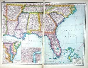 Stampa antica della baia di chesapeake della mappa c1920 for Creatore della mappa della casa