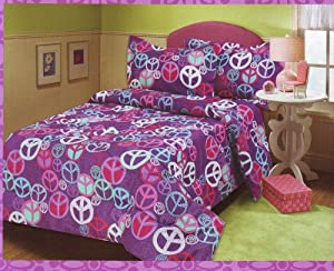 Lilly's Room Twin Comforter Mini Set with Colorful Peace Signs