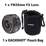 Yongnuo 35mm lens YN35mm F2 lens Wide-angle Large Aperture Fixed Auto Focus Lens For canon With EACHSHOT Small Size Camera Lens Pouch Bag Cover