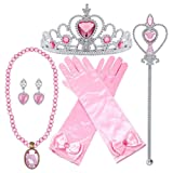 Orgrimmar Princess Dress Up Accessories Gloves Tiara Crown Wand Necklaces Presents for Girls Princess Cosplay Costume Accessories Pink (Color: Pink, Tamaño: 3-8years)