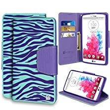 buy Spots8® For Lg G Vista & Lg G Pro Lite Vs880 & Lg D631, Folio Flip Cellphone Case Wallet With Kickstand [Purple & Lg White Zebra]