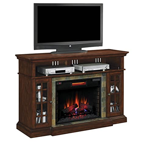 "ClassicFlame 28MM6307-C270 Lakeland TV Stand for TVs up to 65"", Roasted Cherry (Electric Fireplace Insert sold separately)"