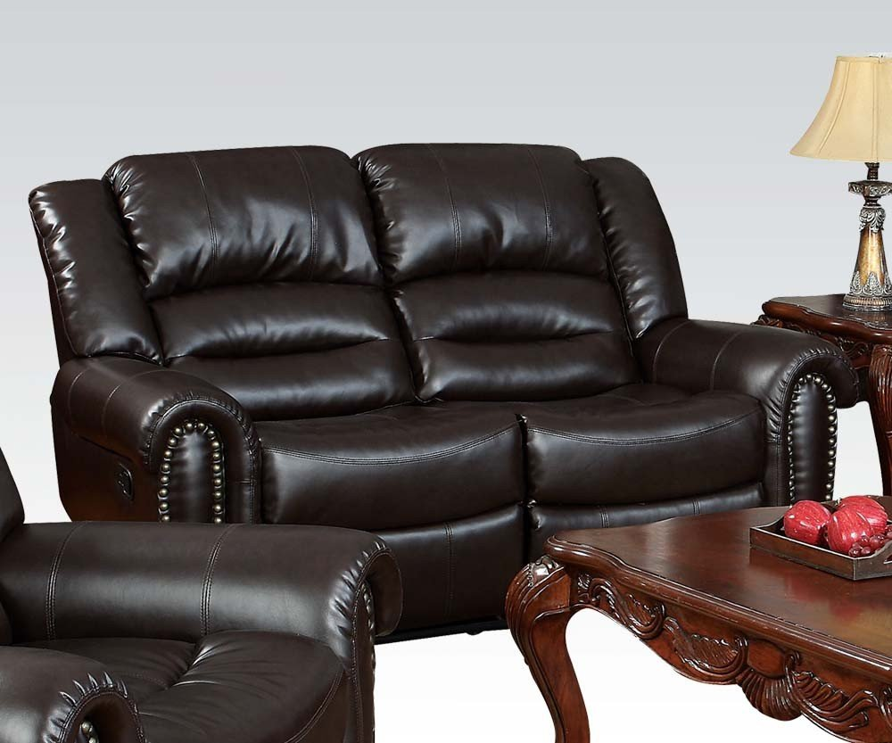 1PerfectChoice Ralph Brown Bonded Leather Recliing Loveseat