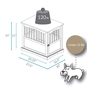 Casual Home Pet Crate End Table - Walnut (Color: Walnut, Tamaño: 20W x 27.5D x 24H)