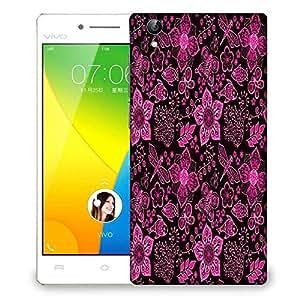 Snoogg Pink Floral Black Pattern Designer Protective Phone Back Case Cover For VIVO Y51 L