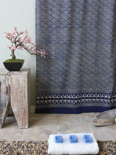 Pacific Blue Rustic Navy Ocean Asian Inspired Shower Curtain 72x72