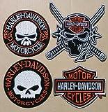 4 Lot Harley Davidson Chopper Bike Skull Fire Ninja Hog Motorcycle Rare iron Patch BY patchGuRu
