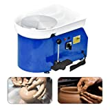 SKYTOU Pottery Wheel Pottery Forming Machine 25CM 350W Electric Pottery Wheel with Foot Pedal DIY Clay Tool Ceramic Machine Work Clay Art Craft (Blue) (Color: Blue)