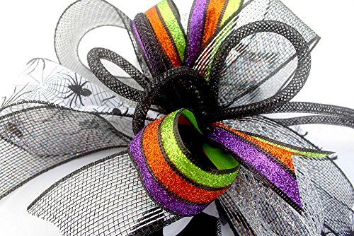 Whimsical Halloween spider bow for wreaths, mantle bow, lantern bows, holiday bows, ribbons, wedding bows, holiday decor, Halloween decor