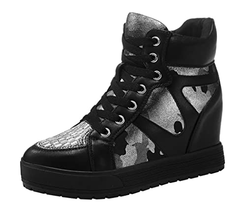 WUXING Women's Invisible Increased Students Recreational Sponge Sneakers