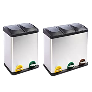 Mülleimer Trennsystem Brandon mit mehreren Kammern | mit Tretfunktion | Edelstahl | 2 Größen (3 Kammern, 54L Fassungsvermögen)  BaumarktKundenbewertung und Beschreibung