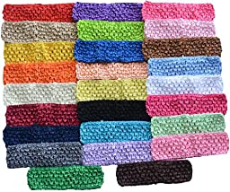 Qandsweet Baby Girl\'s Stretch Headbands Crochet Hair Bands (26pack)