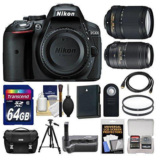 Nikon D5300 Digital Slr Camera Body (Black) With 18-140Mm & 55-300Mm Vr Zoom Lens + 64Gb Card + Case + Grip + Battery + Tripod Kit