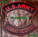 U.S. Army Combat Veteran Embroidered Patches Red & Black Military Patch Set for Jackets