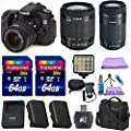 Canon EOS 70D Digital SLR Camera + Canon EF-S 18-55mm IS STM Lens + Canon EF-S 55-250mm F4-5.6 IS STM Lens + Extra Battery + 2pc 64GB Memory Cards + Deluxe Case + LED Light + Paging Zone Cleaning Kit
