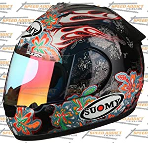 Suomy Excel Spec 1R Extreme Black Blue Flowers Full Face Helmet Medium