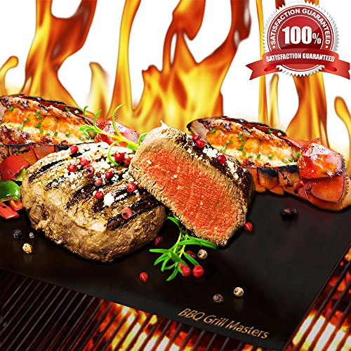 Best Deals! BBQ Grill Masters Premium Quality Grill Mat - Set of 2 + Grilling Recipe eBook - Works G...