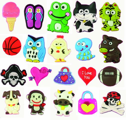 20 Fun Pack Cutesy Animal Novelty Shoe Snap On Decorations, Charms, Buttons, Widgets for Clogs, Crocs, Bracelets, & More **Free Shipping Offer**