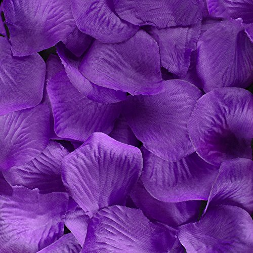 Fabric Multi-Color Silk Flower Mini Rose Petals for Weddings, Party Favor Decoration, Table Confetti Scatter (1000 Pieces) by Super Z Outlet® (Purple)