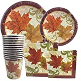 Autumn Traditions Thanksgiving Falling Leaves ~ Plates, Napkins, Cups Set Serves 12