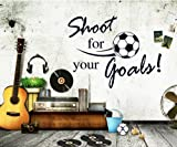 Homgaty Football Shoot For Your Goals Wall Sticker Mural Decal Art Wallpaper For Home/Room/Office Nursery Decoration- The Perfect Birthday, Christmas Gift