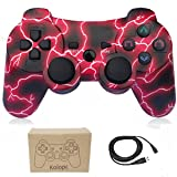 Wireless Controllers for PS3 Playstation 3 Dual Shock, Bluetooth Remote Joystick Gamepad for Six-axis with Charging Cable,Pack of 1 (Red Flash) (Color: RedFlash)