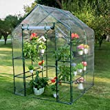 Sundale Outdoor Gardening Large 2 Tier 8 Shelf Steeple Walk in Plant Green House with PVC Cover, 56.5