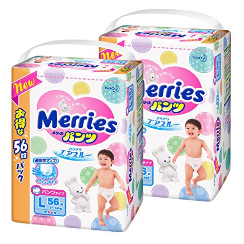 メリーズパンツ(pants) さらさらエアスルー Lサイズ(size) (9~14kg) 112枚 (56枚×2)