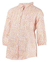 Mama & Bebe Women's Button Front Shirt (MK_0080, White, M)