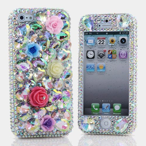 Special Sale BlingAngels® 3D Luxury Bling iphone 5 5s Case Cover Faceplate Swarovski Crystals Diamond Sparkle bedazzled jeweled Design Front & Back Snap-on Hard Case + FREE Premium Quality Stylus and Water-Resistant Bag (100% Handcrafted by BlingAngels) (Flowers with AB Crystals and Stones)
