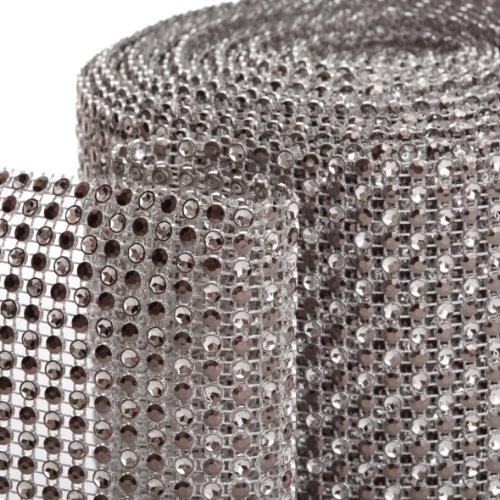 Koyal 2-Tone Diamond Rhinestone Ribbon Wrap, Silver front-1044542