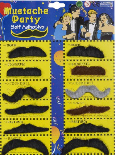 Forum Novelties Self-Adhesive Moustaches (12 Styles)