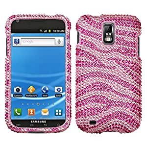 Zebra Skin(Pink/Hot Pink) Diamante Protector Faceplate Cover For SAMSUNG T989(Galaxy S II) T-Mobile