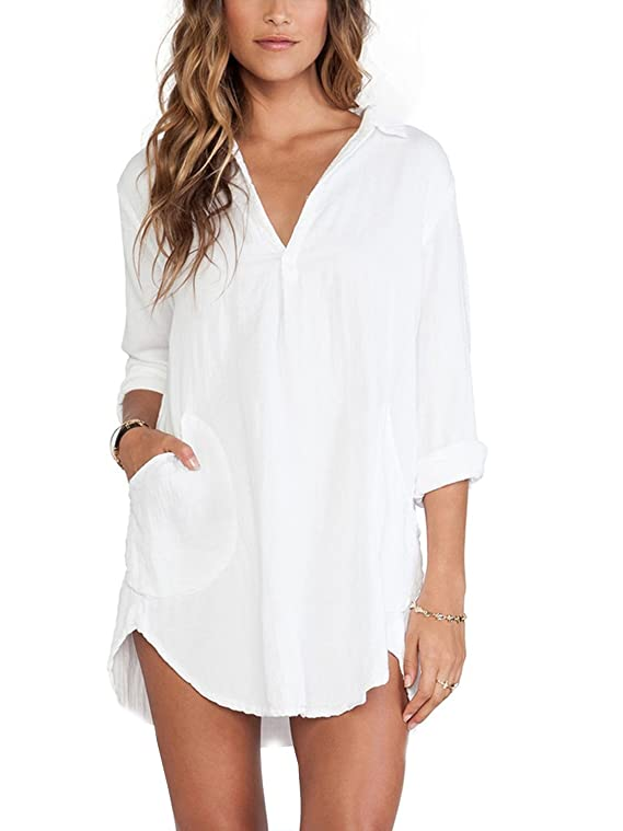 SixKiss Women's White Long Sleeve Loose Shirt Dress