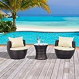 Outsunny Salon de jardin empilable en rotin 2 fauteuils avec table basse et coussins