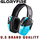 GLORYFIRE Electronic Shooting Earmuff Sound Amplification 6 Times Electric Earmuffs Perfect for Hunting and Shooting (Color: Blue)