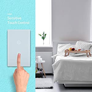 HHGAOKO Wifi Smart Wall Light Switch,Tempered Glass Panel Touch Light Switch 2 Gang 1 Way Switch,Suitable for 1 Gang Wall Box, Timer Function,Wireless Lighting Control (White) 2Pack (Color: L2W2-White)