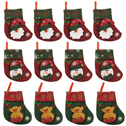 "#Christmas Special Offer# Ivenf 12 Pack 6-1/4"" Felt Mini Christmas Stockings Gift Cards Stockings Christmas Tree Decoration"