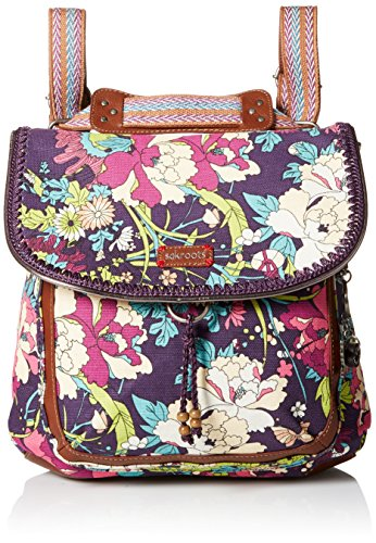Sakroots Artist Circle Convertible Fashion Backpack, Violet Flower Power, One Size