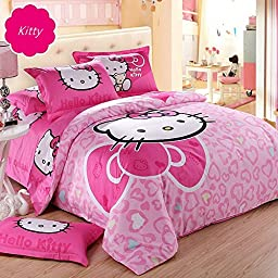 Hughapy Big Red Bow Pink Red Love Hearts Hello Kitty Prints Girls Princess Character Cartoon Kids Gift Bedding Duvet Cover Set