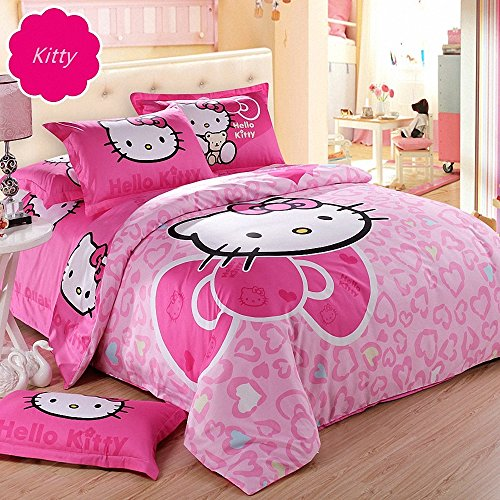 Hughapy-Big-Red-Bow-Pink-Red-Love-Hearts-Hello-Kitty-Prints-Girls-Princess-Character-Cartoon-Kids-Gift-Bedding-Duvet-Cover-Set