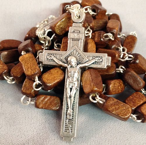 Brown Wood Bead Catholic Rosary 20 inches