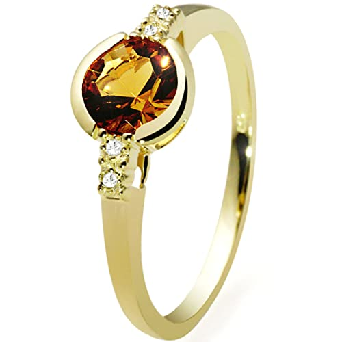9Ct Yellow Gold Ring With 1 Yellow Quartz And 4 Diamonds 0.02 Carat By Goldmaid